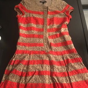 BCBG MaxAzria Tan & Coral Eyelette Dress
